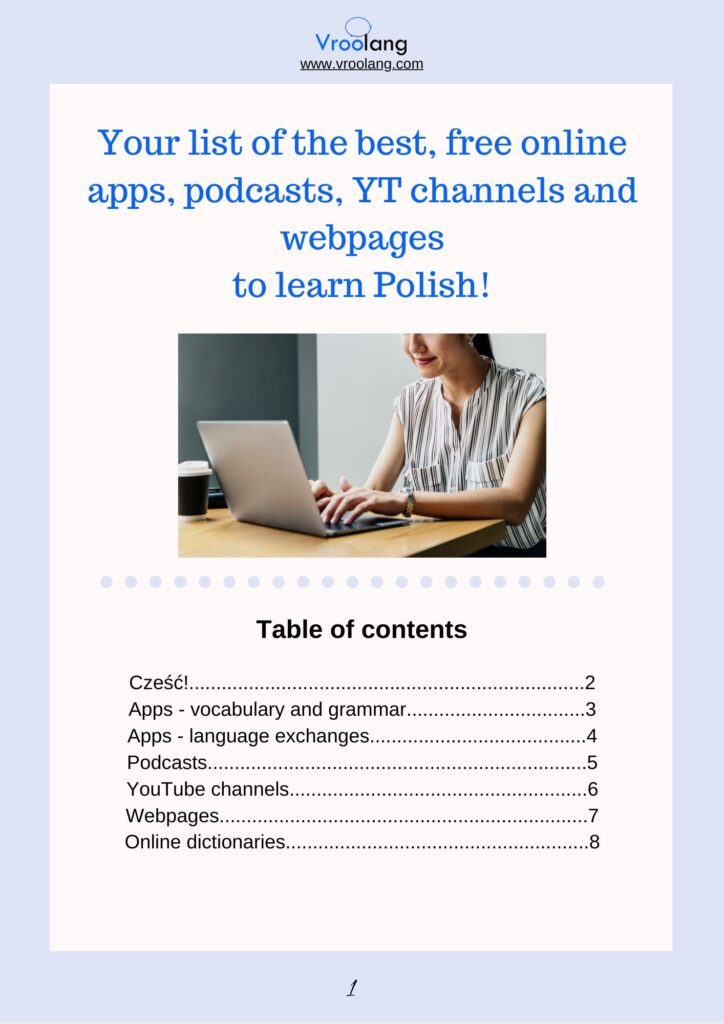 first page of Vroolang freebie list